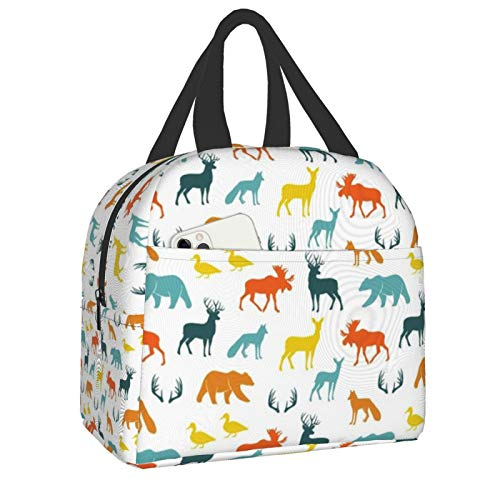 Woodland Animals Auburn Textile Portable Thermal Insulated Lunch Bag with Zip Closure ,Waterproof Lunch Cooler Tote Bag Reusable For Picnic Travel Work School Lunch Box