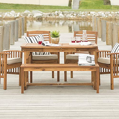 Walker Edison Maui Modern 6 Piece Solid Acacia Wood Slatted Outdoor Dining Set, Set of 6, Brown