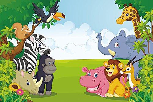 MUZI Fondo de fotografía para la selva safari temática de animales paisajes naturales de la cabina de fotos de fondo para baby shower niños pancarta de cumpleaños