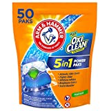Arm & Hammer Plus OxiClean HE 5-in-1 Laundry Detergent Power Paks, 50 Count...