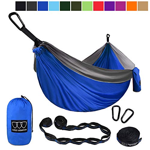 Gold Armour Camping Hammock - Extra Large Double Parachute Hammock (2 Tree Straps 32 Loops, 29 Colors Patterns) USA Brand Lightweight Nylon Adults Kids, Camping Accessories Gear (Blue and Gray)