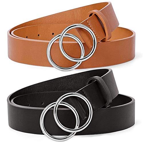 BESTZY Cinturón De Jeans 2pcs Cinturón de Mujer Monocolor con Hebilla de Anillo Vintage Cinturón Ancho Vestidos Decorativa Cinturones de Mujer Elásticos de Cincha