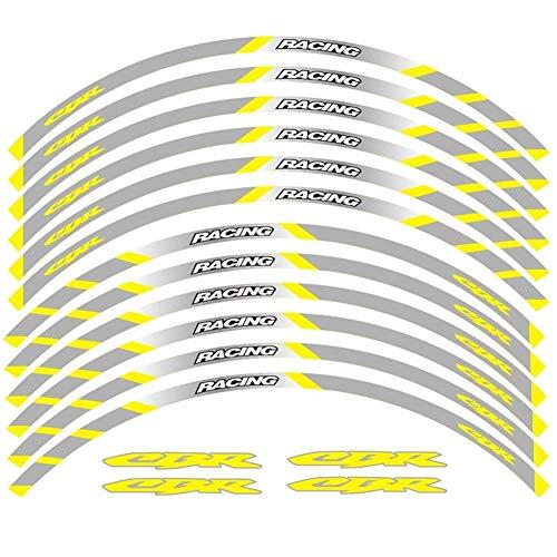 Calcomanías de ruedas de raya reflectante Accesorios de motocicleta Ruedas delanteras y traseras Edge Etiqueta de llanta exterior para HON-DA CBR (Color : G)