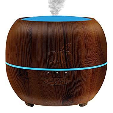 ArtNaturals Aromatherapy Essential Oil Diffuser – (Dark Brown - 150 ml Tank) – Ultrasonic Aroma Humidifier - Mist Mode, Auto Shut-Off and 7 Color LED Lights – For Home, Office, Bedroom and Baby
