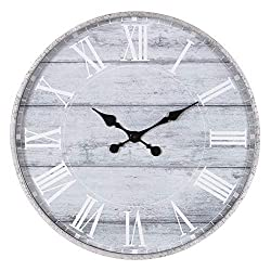 Patton Wall Decor 28 Galvanized Metal Gray Washed Wood Plank Roman Numeral Round Wall Clock, Pack of 1, Grey