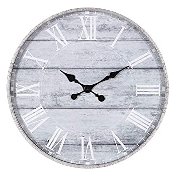 Cussing Cups 1807-3747 28  Galvanized Metal Gray Washed Wood Plank Roman Numeral Round Wall Clock Pack of 1 Grey
