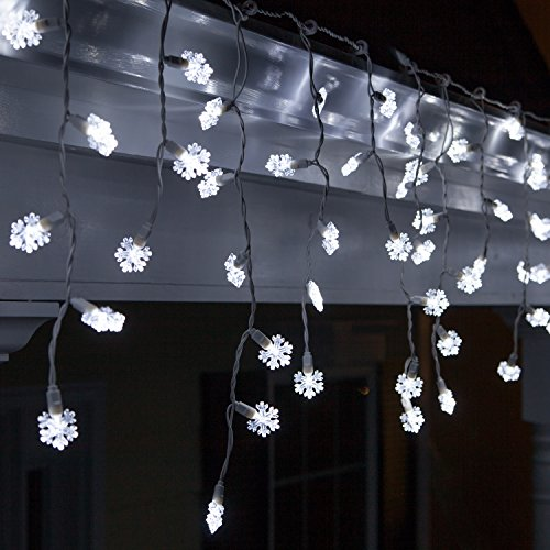 70 LED Cool White Snowflake Icicle Lights