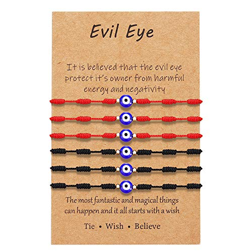 Evil Eye 7 Knots Lucky Bracelet Adjustable Red String Amulet Ojo Turco Kabbalah Protection Bracelet for Women Men Family Best Friend