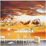Wandbilder 3D Fototapete 3D Moderne Ägyptische Wüste Kamel Pyramide Schönheit Hintergrund Wanddekoration Fototapete-300cmx210cm