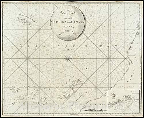 Historical Map 1801 A New Chart In stock Islan of Madeira The Canary Philadelphia Mall and
