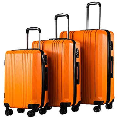 Coolife Luggage Expandable Suitcase 3 Piece Set with TSA Lock Spinner 20in24in28in (orange4)