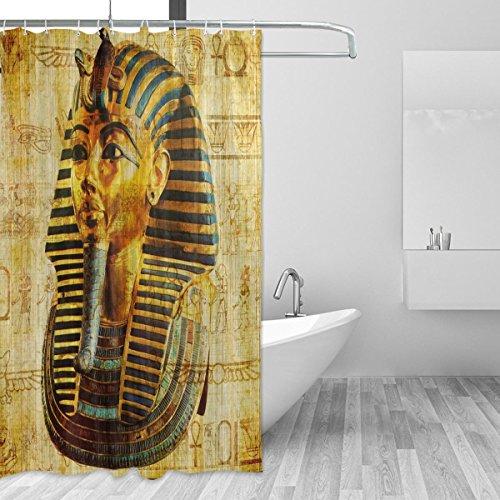 Jstel ägyptischer Pharao Duschvorhang, schimmelresistent, wasserdicht aus Polyester, extra lang, 72x 72Zoll, für Badezimmer, Dusche, Bad-Duschvorhang, mit 12Haken