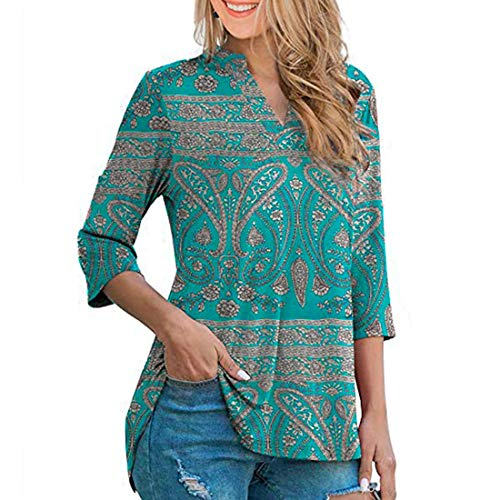 SEXOX Women's Sexy V Neck Shirt Oversized Jumper Sweater Long Sleeve Printed Baggy Pullover Blouse T-Shirt