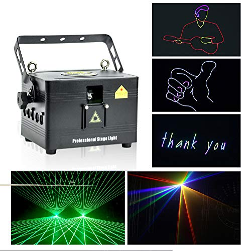V-Show 1W RGB Animation Laser Lights Show for Party, Dmx Dj Laser Stage Lighting Effect, 12CH, Programmable Laser Projector Best For Disco Wedding Family Clubs Xmas RGB Lasers Show