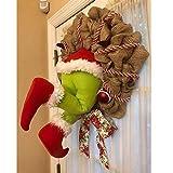 Guirnalda de ladrón de Navidad, Santa Butt out of Wreath, robando Santa Claus Elf Decoración de la Corona de decoración para la Puerta Delantera y el árbol de Navidad