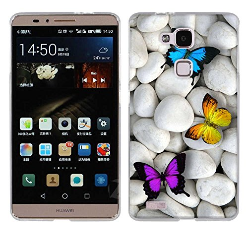 Fubaoda Ascend Mate 7 Hülle Case, [Schmetterlinge] für Huawei Ascend Mate 7 Case silikon Hülle Premium Durchsichtig Handyhülle Backcover Durchsichtig hülle Case Schutzhüllen TPU Case für Ascend Mate 7