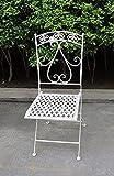 Sedia con Spalliera Quadrata in ferro battuto, colore Panna.H90 x...