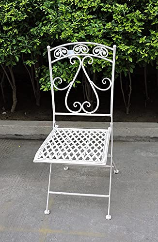 Sedia con Spalliera Quadrata in ferro battuto, colore Panna.H90 x 48 x 37 cm
