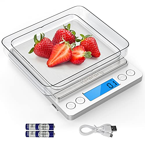 USB Scale Kitchen, KPafory Digital Kitchen Baking Scale with Precision 3000g  0.1g, Stainless Steel oz Food Scale with LCD Display, 9 Units with Tare and PCS Function, Included Batteries and 2 Trays