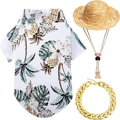 3 Pieces Pet Dog Hawaiian Shirt Summer Cool Puppy T-Shirts Puppy Hawaiian Beach Outfit with Pet Summer Straw Hat and Golden Chain Collar for Small to Large Dog (White,Coconut Tree)