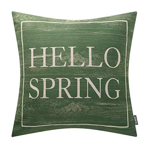 TRENDIN Wooden Hello Spring Pillow Cover 20x20 inch for Home Decor Cotton Linen Vintage PL424TR20