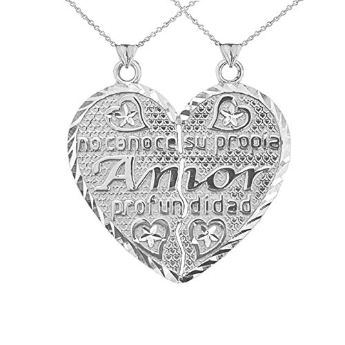 Poema de Amor Breakable Double-Sided Heart Pendant Necklace in Sterling Silver 925 (Available Chain Length 16'- 18'- 20'- 22') D