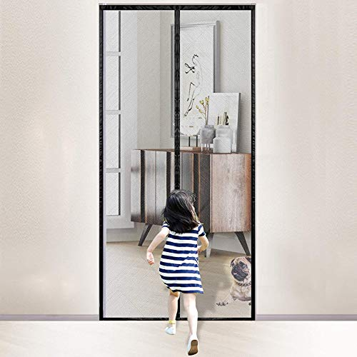 "Magnetic Screen Door, Rends Heavy Duty Mesh Curtain with Portable Velcro, Full Frame Magnetic Block & Self Sealing Magnetic Curtain Partition Keeps Bugs Out, Pet and Kid Friendly, 39"" x 83"", Black"