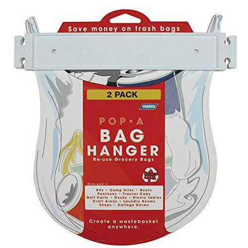 Camco Pop-A-Bag - Colgador para bolsas de plástico, fácil de montar y reutilizar bolsas de plástico, organizar y ahorrar espacio en tu cocina (2 unidades) (43593)