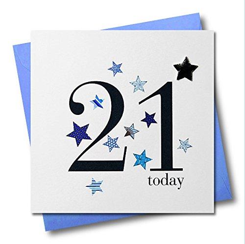 Claire Giles Herzen und Sterne Happy 21. Geburtstag Karte–Blau