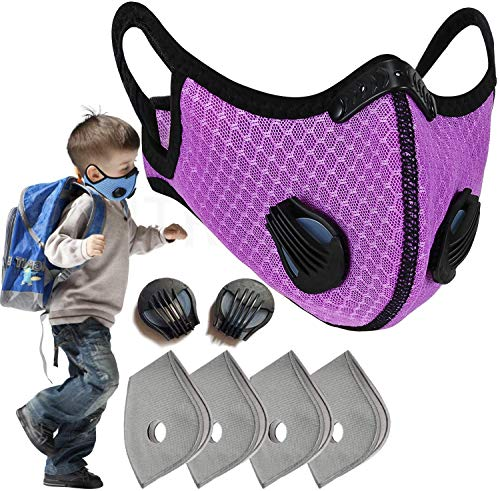 PIPITREE Kids Dust Mask Filter Sports Face Mask Anti Pollen Half Face Mask Activated Carbon Dustproof Respirator Mask Respirator for Boys and Girls