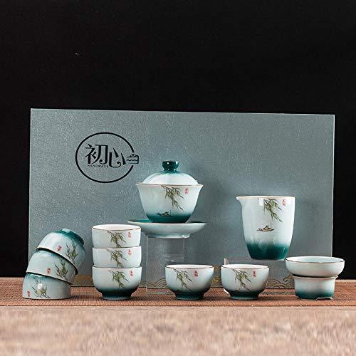 Ksnrang Juego de té Azul y Blanco Horno Que Gira el Juego de té Rojo Juego de té Juego de té Regalo Logotipo Personalizado Juego de té casero Juego de té-12 Cabezas de Brisa primaveral