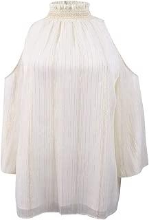 Womens Mock Neck Cold Shoulder Blouse Beige XL