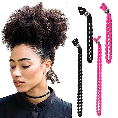 YMHPRIDE 4 Stück Neue Haargummis mit verstellbarer Länge No-Slip Extra dehnbares Haarband für Pferdeschwanzbrötchen Dickes geflochtenes lockiges Haar (2 schwarz und 2 rosa)