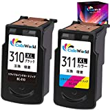 ColoWorld Canon(キヤノン)用 BC-310xl+BC-311xl 310xl[ブラック]+311xl[3色カラー] 2個セット リサイクル インクカートリッジ 増量タイプ 【残量表示付】[対応機種:PIXUS iP2700 MP490 MX350 MP493 MP480 MP280 MP270 MX420]