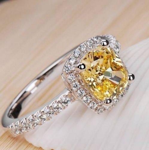 Promsup Gorgeous 925 Silver Princess Cut White Sapphire Wedding Band Ring Women Jewelry (10)