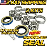 (2 Kits) HD Switch Front Wheel Axle Hub Bearing & Seal Kit Replaces Club Car DS Carryall Golf Cart