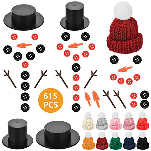 Souarts 615 PCS DIY Christmas Snowman Kit for Xmas Crafting and Sewing Supplies with Snowman Buttons Mini Snowman Knit Hats Tiny Black Buttons Carrot Noses Buttons