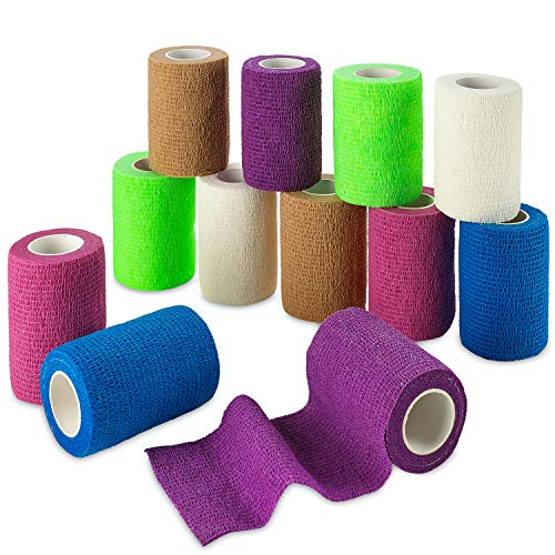 Self Adherent Wrap - Bulk Pack of 12, Athletic Tape Rolls and Sports Wraps, Self Cohesive Non-Woven Adhesive Bandage (3 in x 5 Yards) for Ankle Sprains & Swelling