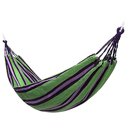 Hammock Chair 2 Person Hammock Chair Outdoor Camping Hanging Bed Double Sleeping Garden Hammock Chair (Color : Green, Size : 240x150cm)