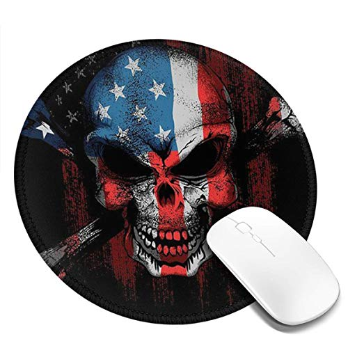 Round Mouse Pad, American Flag Skull Customized Designs Non-Slip Rubber Base Gaming Mouse Pads for Mac, PC, Computers. Ideal for Working or Game 8.6x8.6inch