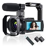 Videokamera 4K WiFi Video Camcorder mit Mikrofon IR Nachtsicht, Full HD YouTube Vlogging Kamera, 3,0...