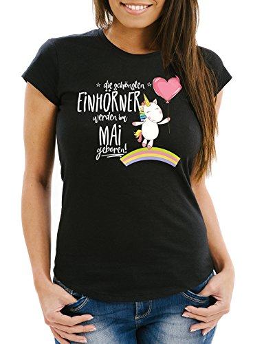 MoonWorks Damen T-Shirt die schönsten Einhörner Werden im Mai geboren Slim Fit Geschenk Geburtstag schwarz S