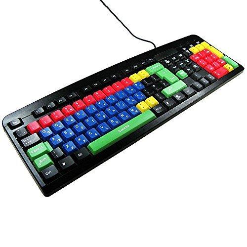 USB & PS2 Qwerty Tastatur Grossbuchstaben & Kleinbuchstaben Farbige für Kinder / Ideal für Kinder in Schulen und Kindergärten / Bequem und Wasserdicht / iCHOOSE