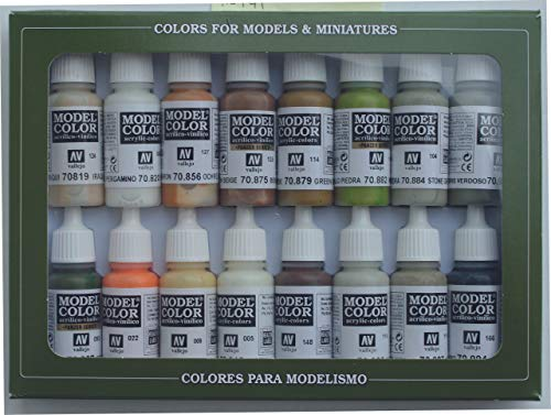 Vallejo 070141 Farbset, Erdtöne, 16 x 17 ml