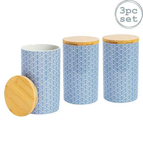 Nicola Spring Boîtes à thé/café/Sucre - en Porcelaine - Bleu - Lot de 3