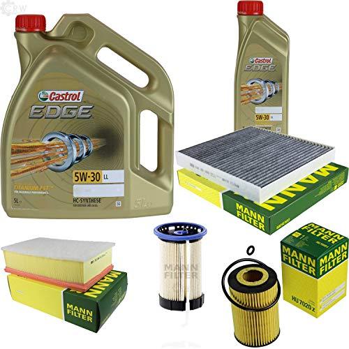 Juego de filtros de inspección de 6 litros de aceite de motor Castrol EDGE Titanium FST 5W-30 LL MANN-FILTER filtro interior de combustible filtro de aire filtro de aceite