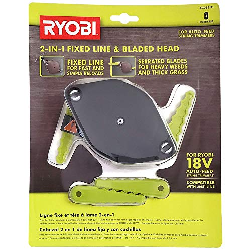 RYOBI 2-in-1 Fixed Line and Bladed Head AC052N1 - Accessory for Auto Feed String Trimmers