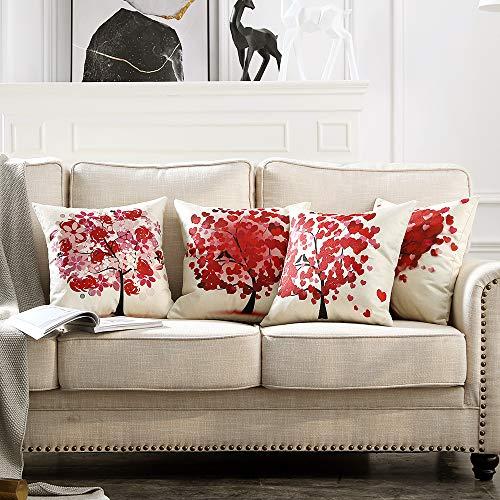 MIULEE Juego de 4 Lino Cojines Árbol Rojo Funda de Cojín Almohada Caso de Decorativo Cojines para Sala de Estar sofá Cama Coche 18'x18' Pulgadas 45x45cm