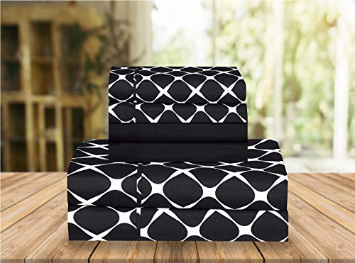 Elegant Comfort Luxury Soft Bed Sheets Bloomingdale Pattern 1500 Thread Count Percale Egyptian Quality Softness Wrinkle and Fade Resistant (6-Piece) Bedding Set, California King, Black