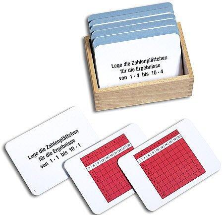 Arbeitskartei zum Pythagorasbrett 100 Karten, Montessori Material mit Selbstkontrolle